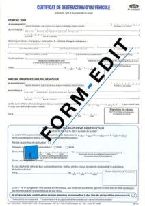 Certificat de destruction d'un véhicule