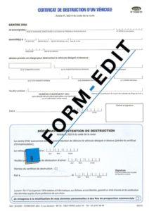 Certificat d'intention de destruction d'un véhicule