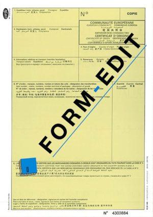 Certificat d'origine Copie