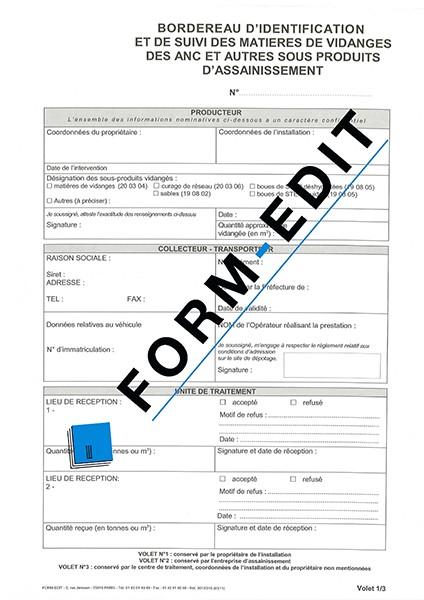 Déclaration d'identification et de suivi des matières de vidanges