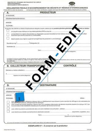 Déclaration fiscale d'accompagnement des déchets