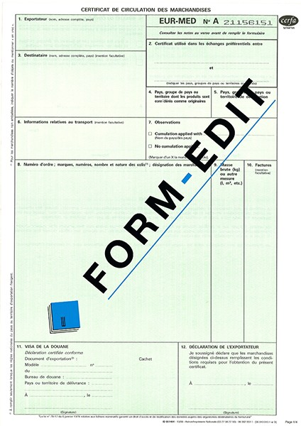 Certificat de circulation EUR-MED