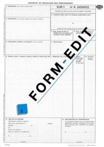 Certificat de circulation EUR1 en feuillet