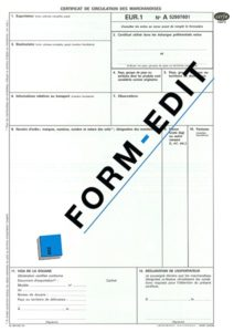 Certificat de circulation EUR1 en liasse